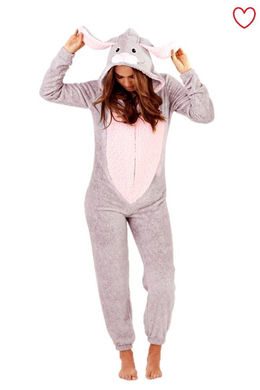 Fleece-3D-Onezie-Rabbit-Jumpsuit-All-In-One-Piece-Pyjamas-Pajama-Hoodie