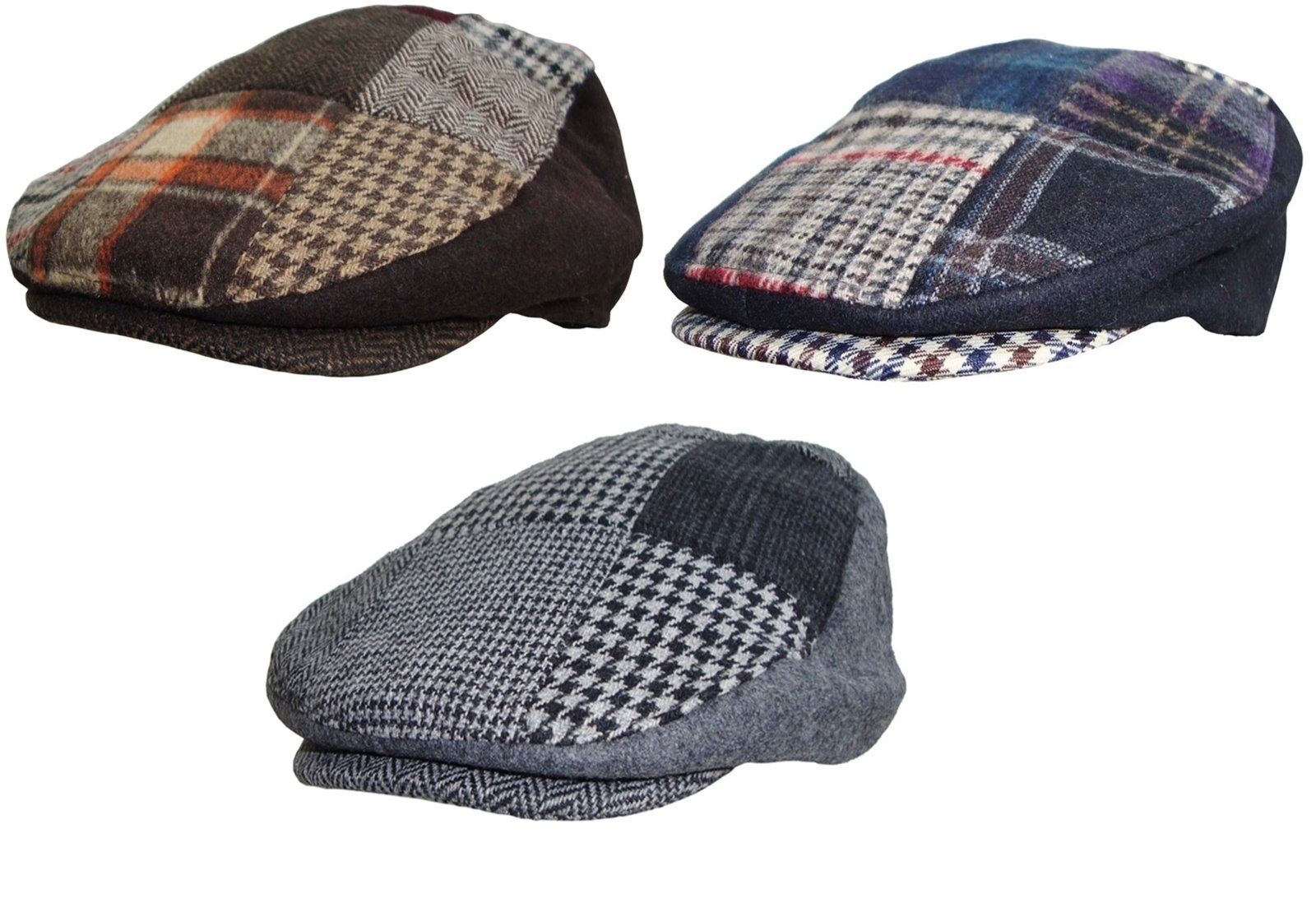 Details about Mens Patchwork Flat Cap Tweed Country Hat Peaked Country  Racing Cap df4b345d8b3