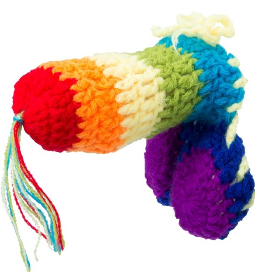 novelty knitted rainbow willy warmer stag do adult naughty rude joke ...