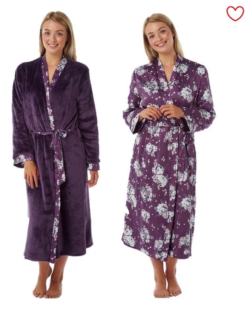 Ladies Reversible Satin Luxury Bathrobe Dressing Gown | eBay