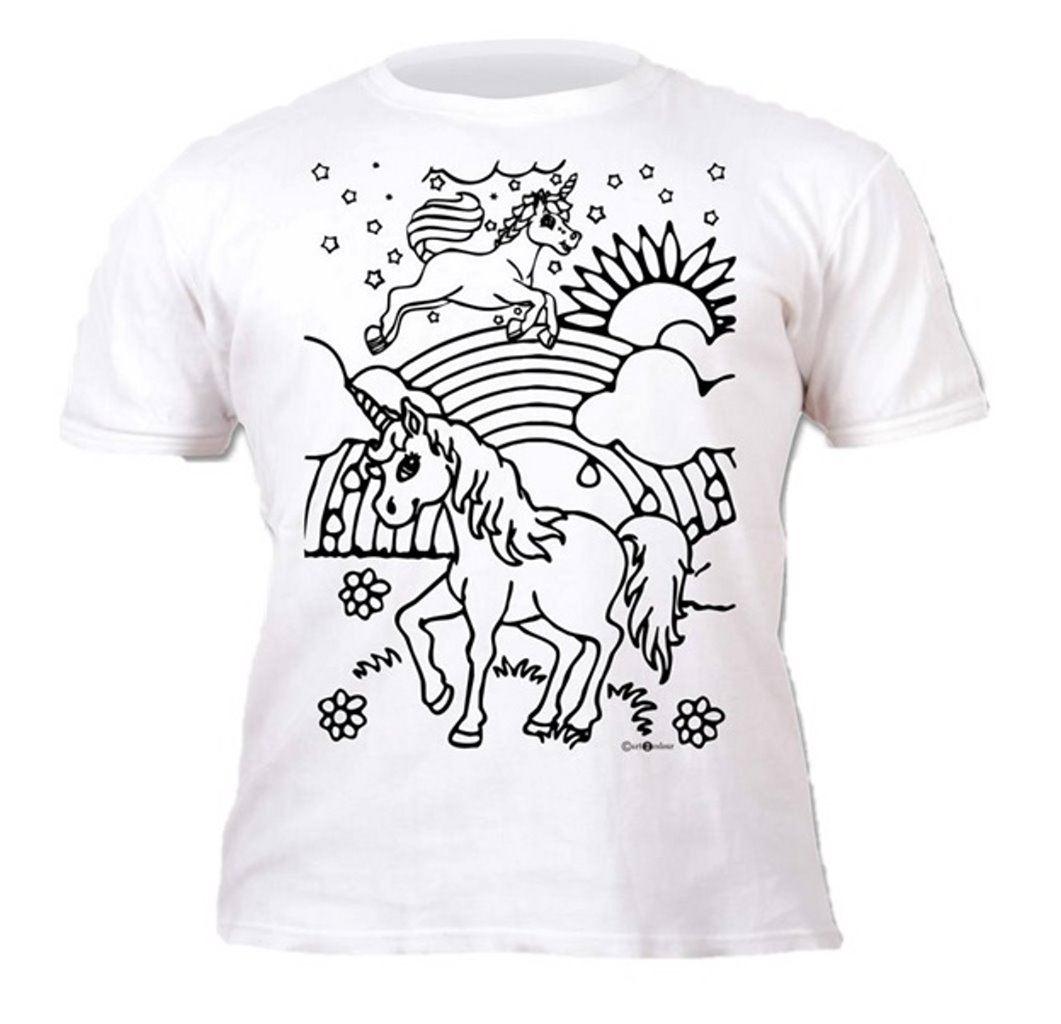 Colour-your-own-t-shirt-unicorn-mermaid-dinosaur-novelty-gift thumbnail 18
