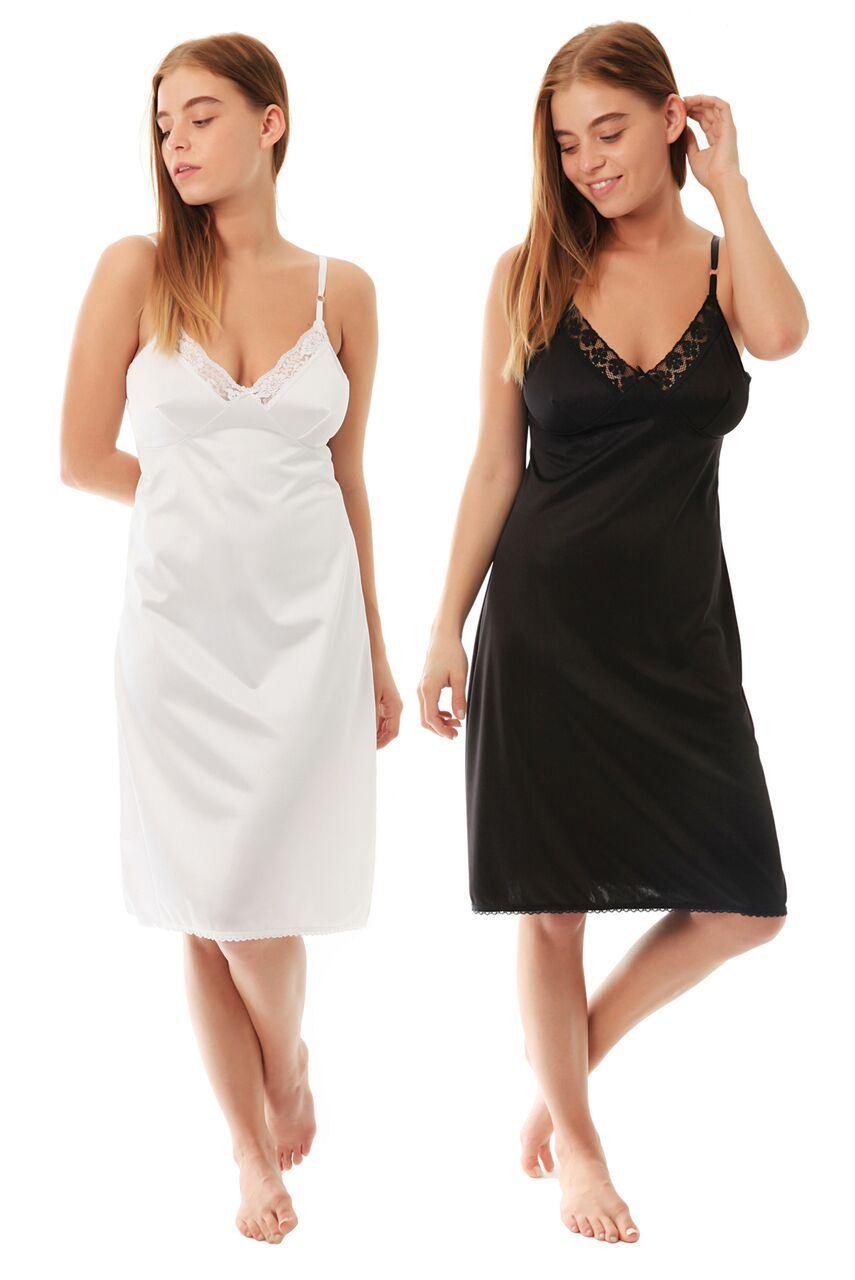 Ladies womens full slip anti-static petticoat under dress 12-28