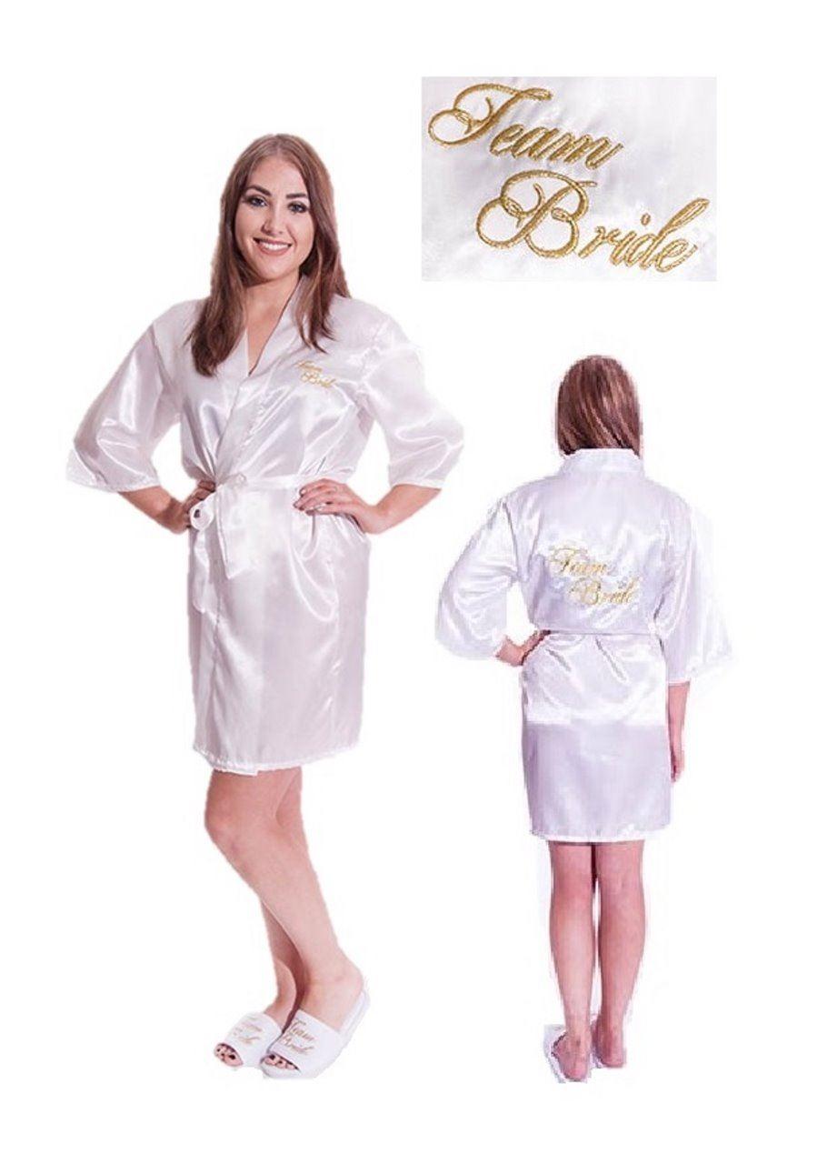 Team Braut Kimono Bademantel Brautjungfern Seide Satin Hochzeit | eBay