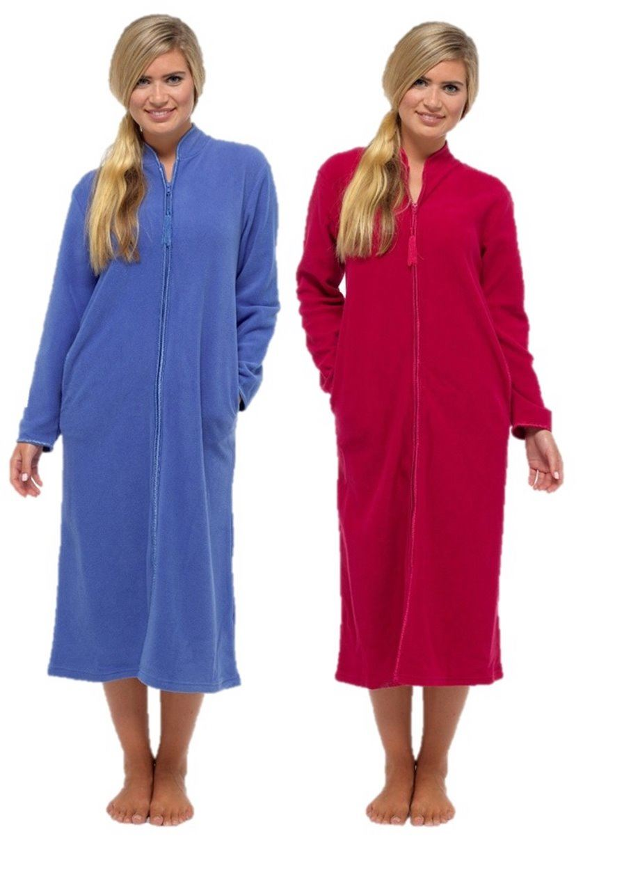 Ladies bed jacket zip up fleece dressing gown cover up house coat | eBay