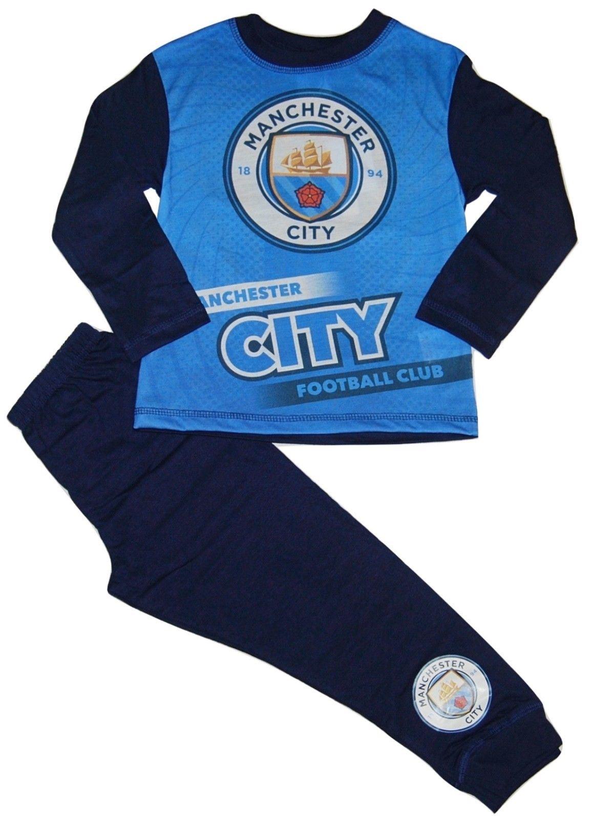 Manchester City Boys Pyjamas Pjs Football M.C.F.C Man City Children  2-12 Years