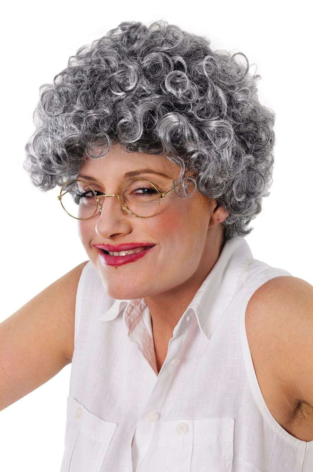 Adult Old Lady Curly Wig Grey Granny Old Women Fancy Dress Accesories 763e3dae0
