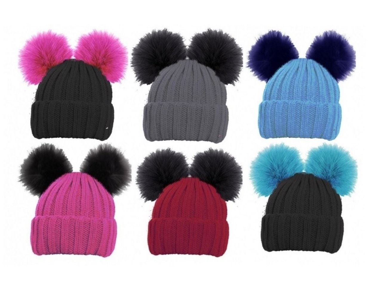 ebec4a2f05e Details about Girls Hat Bobble Pom-pom Ribbed Chunky Beanie Winter