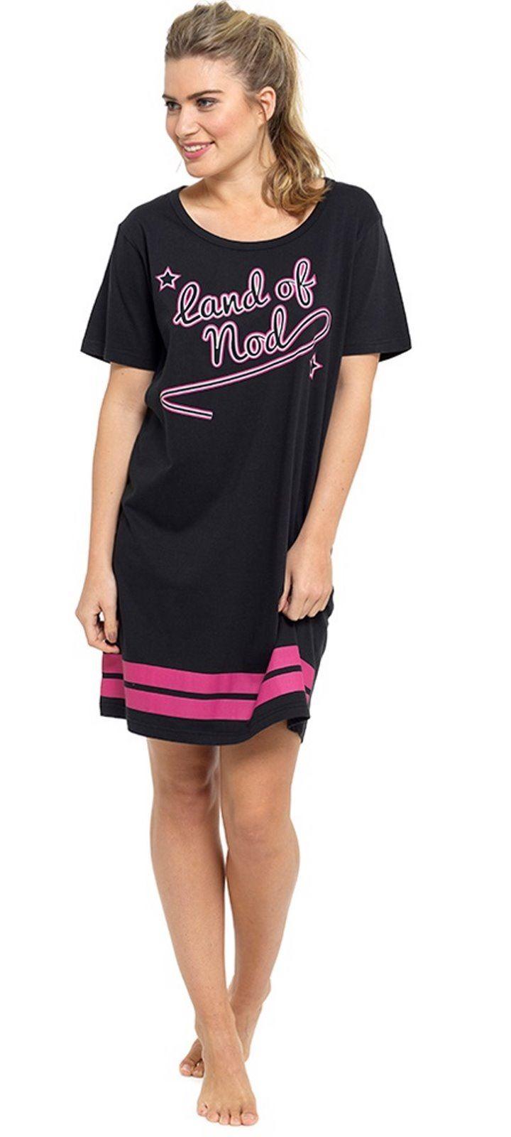 Black t shirt nightdress - Ladies Pink Black Girls Slogan Nightie Nightdress Short Sleeve Nightshirt