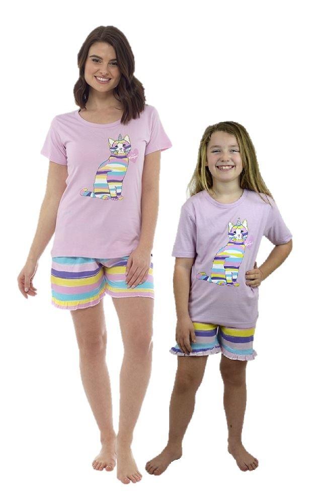 Girls Pyjamas Cat Nightwear Matching Adult Child Sleepwear Gift