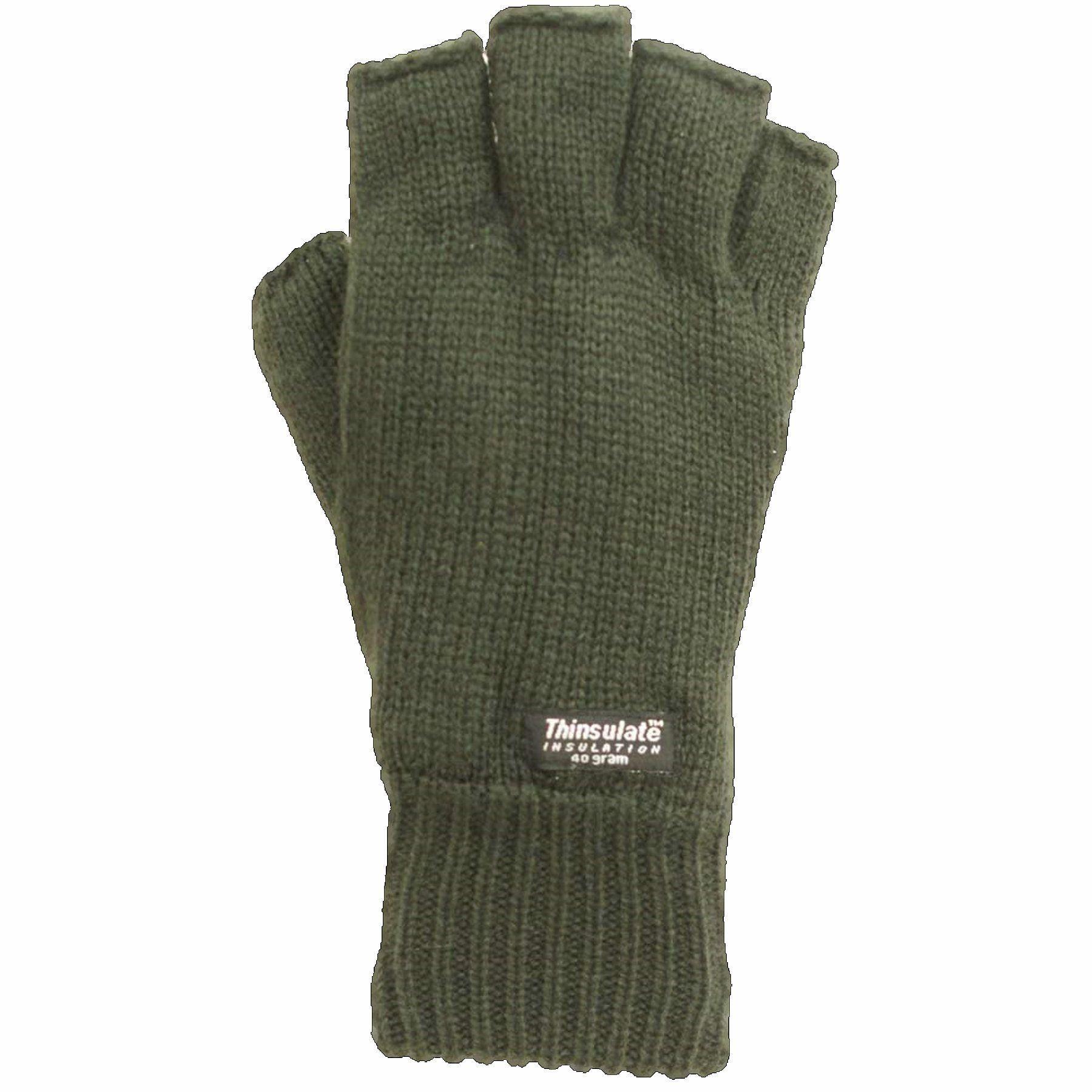 Mens fingerless gloves thinsulate green olive black camo for Fingerless fishing gloves
