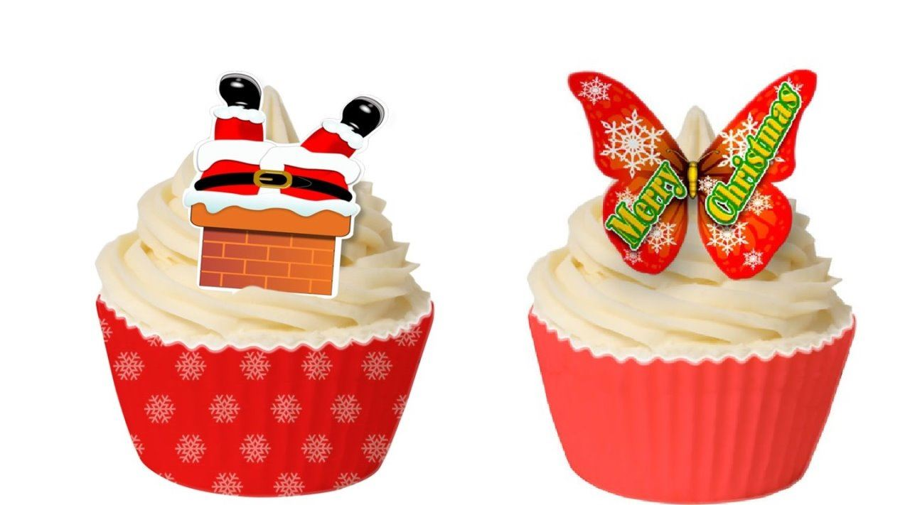 Christmas Cupcake Toppers.Details About Christmas Cupcake Toppers Edible Wafers Decorations Decor Xmas Festive