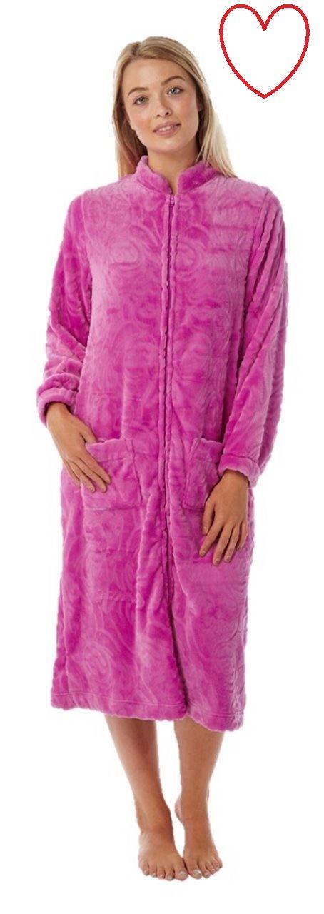 Ladies Womens Dressing Gown Zip Up Bath Soft Warm Robe House Coat | eBay