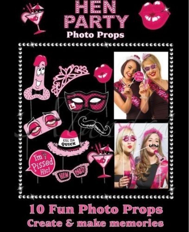 Ladies Hen Do Night Party Photo Booth Selfie Fun Props Fancy Dress Accessory Kit