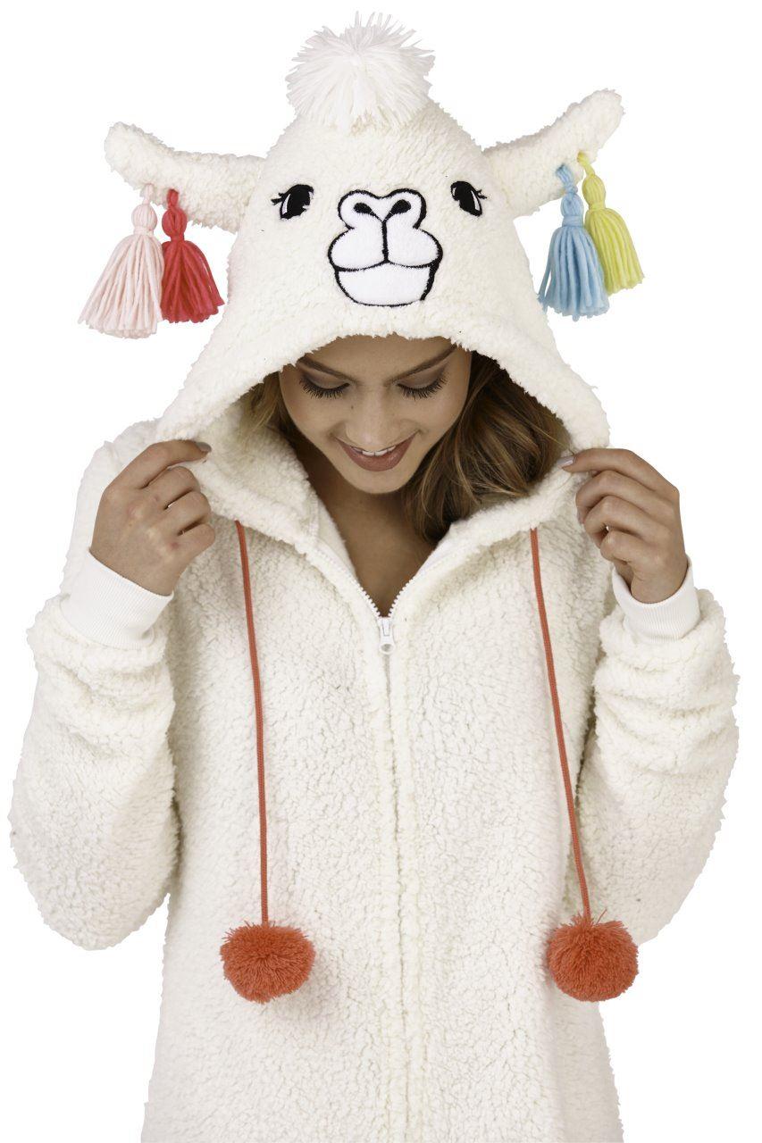 c6a6e54a4465a Womens Llama Playsuit All in One Pyjamas Hooded Fleece Lama Novelty ...