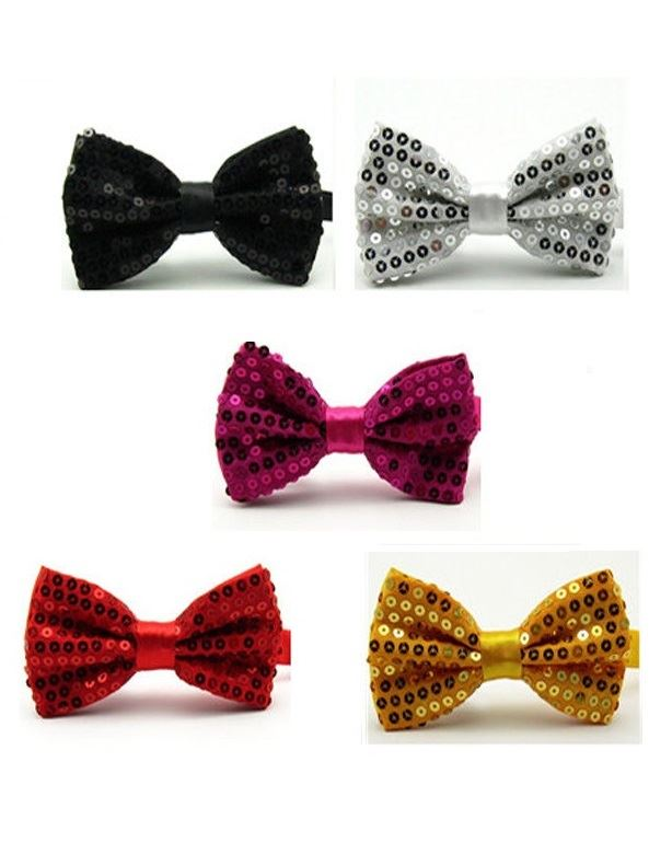 glitter sequin sparkly dickie bow tie silver gold red black pink