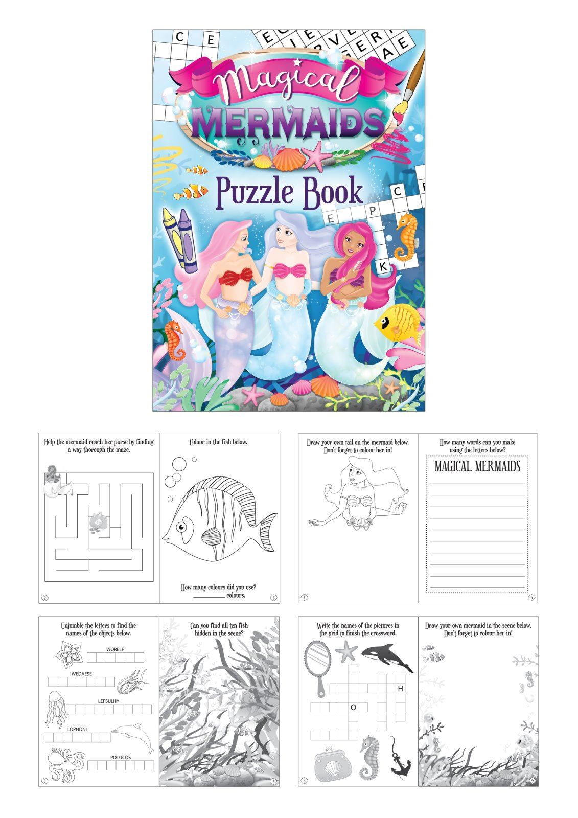 Mermaid puzzle books activities wedding favor party bag fillers A6 ...
