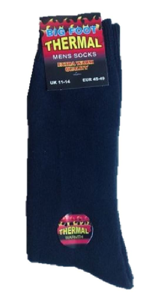 3 PAIRS OF MENS BLACK THICK WINTER BRUSHED THERMAL BIG FOOT SOCKS UK SIZE 11-14