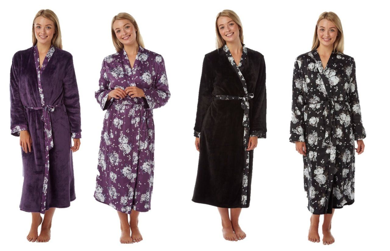 Ladies Bathrobe Dressing Gown Reversible Satin Luxury | eBay