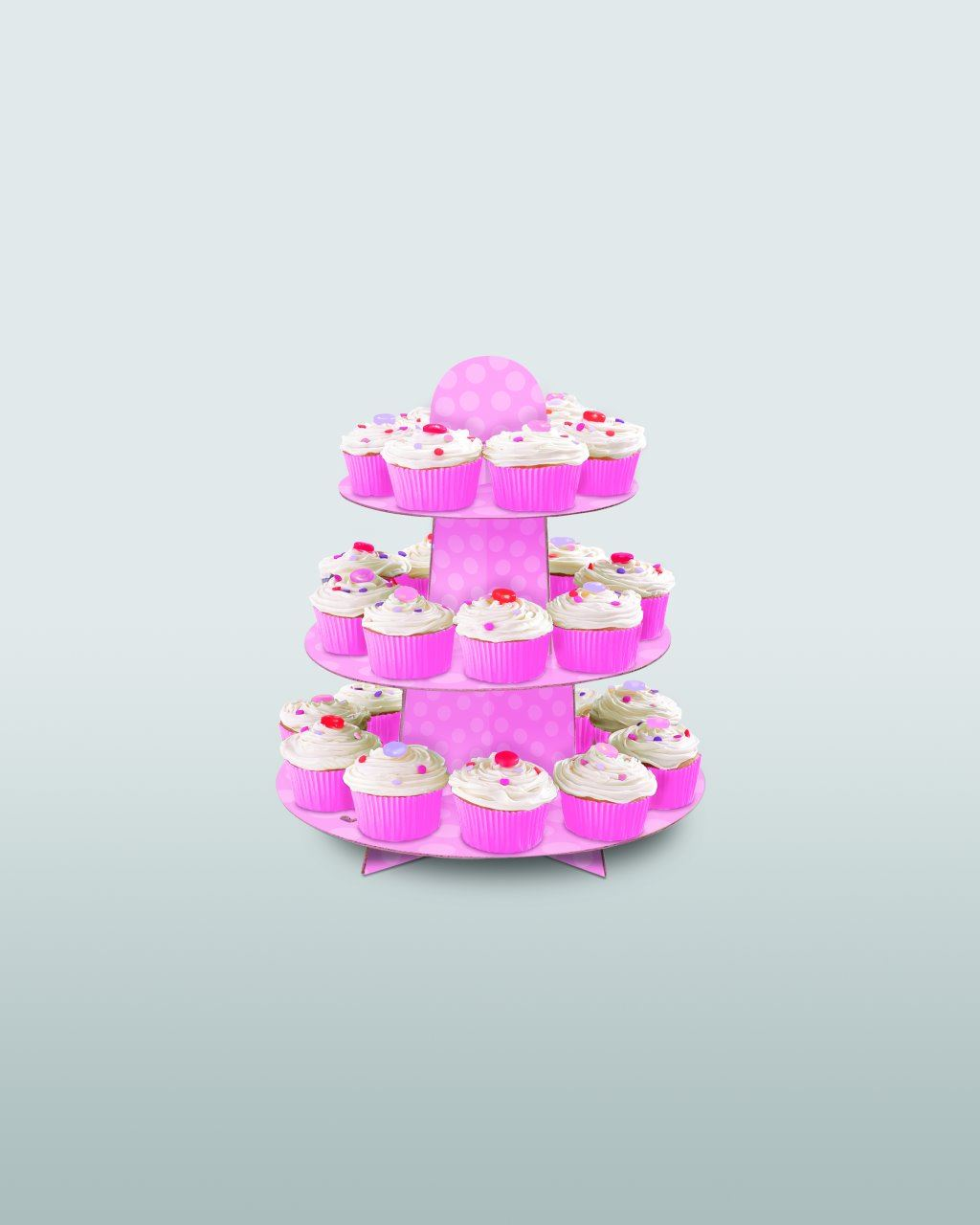 Pink Polka Dot Baby Shower Cupcake Stand Cardboard Party Unique
