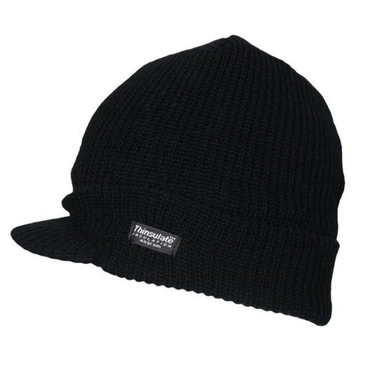 5323977c87f Adult BLACK Thinsulate Beanie Hat Cap Thermal German Winter Warm Ski Peak  Visor