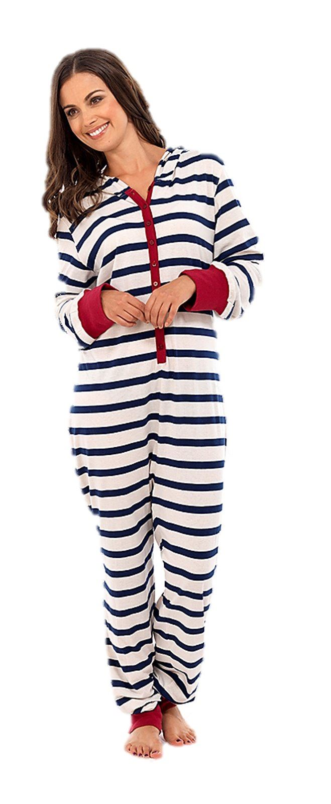 damen overall einteiler schlafanzug mit kapuze pyjama jumpsuit hausanzug ebay. Black Bedroom Furniture Sets. Home Design Ideas