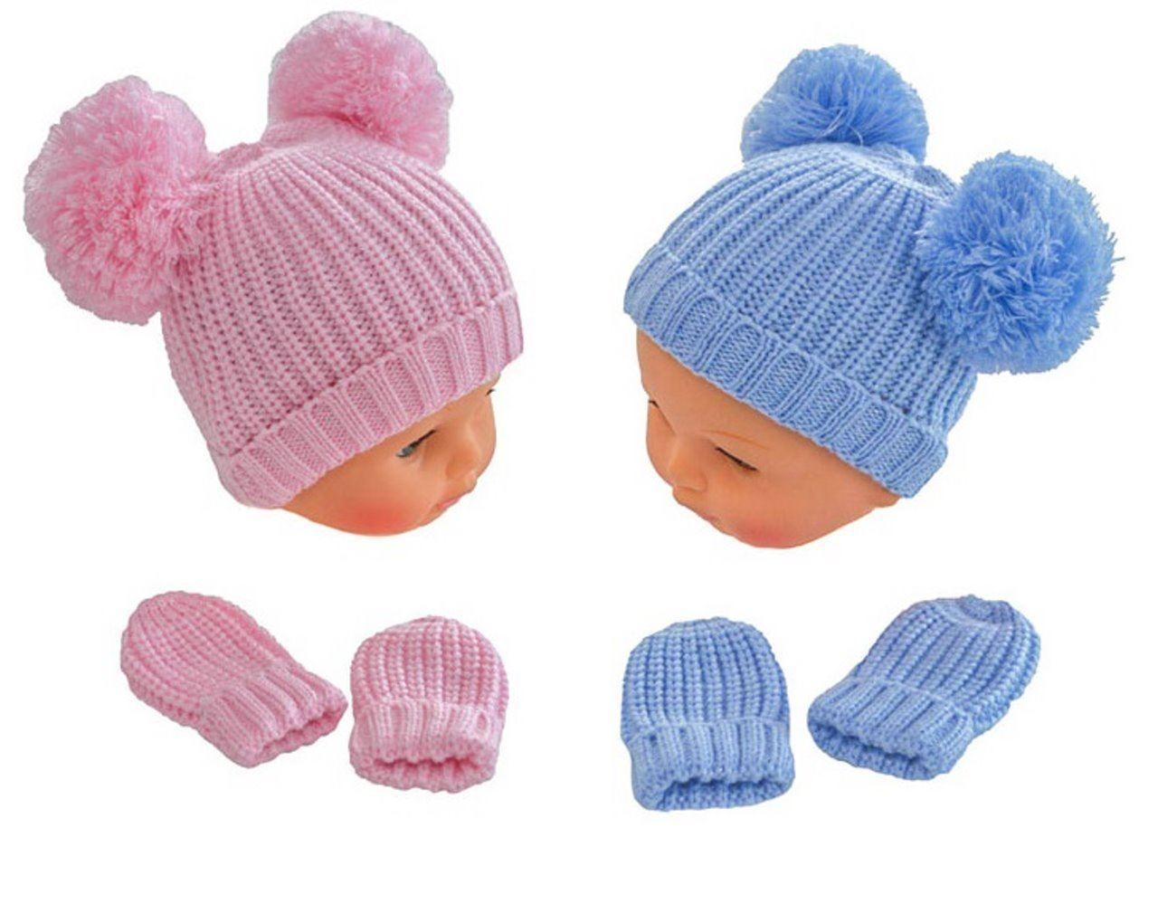 Baby Hat and Mittens Set Beanie Winter Blue Pink Outdoor Accessories Boys  Girls fdaa1fcd307