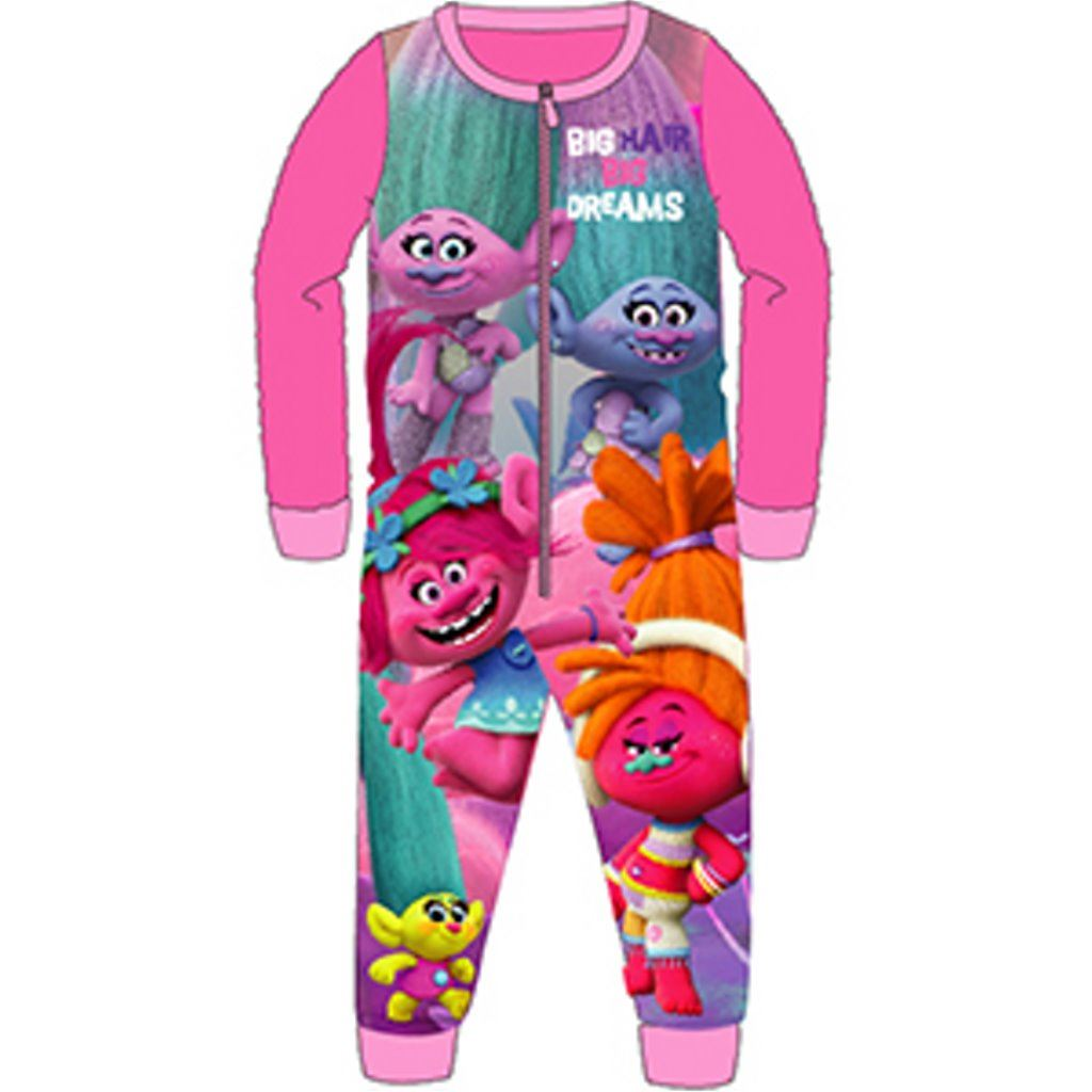 25aec6132 Girls Trolls All In One Piece Character Childrens Pyjamas Ages 4-10 ...