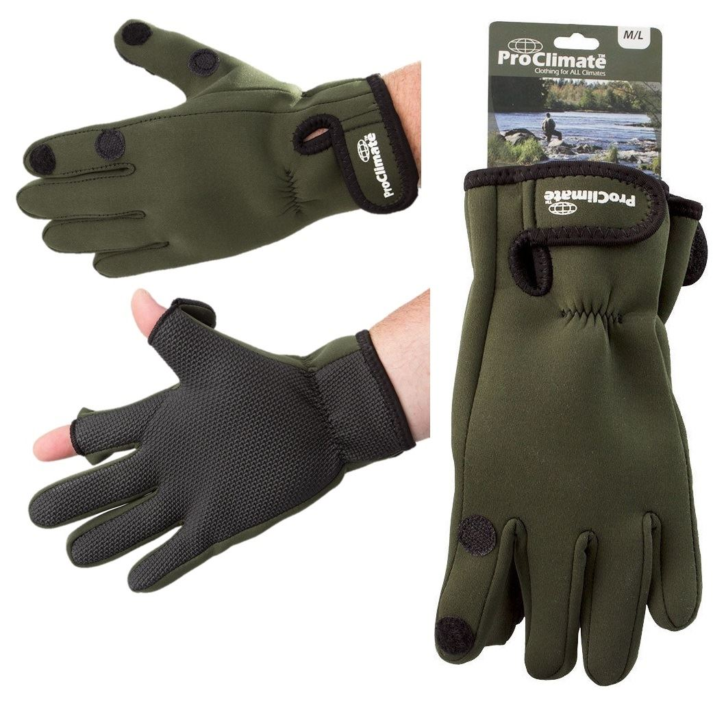 Neoprene gloves fishing hunting shooting camo green