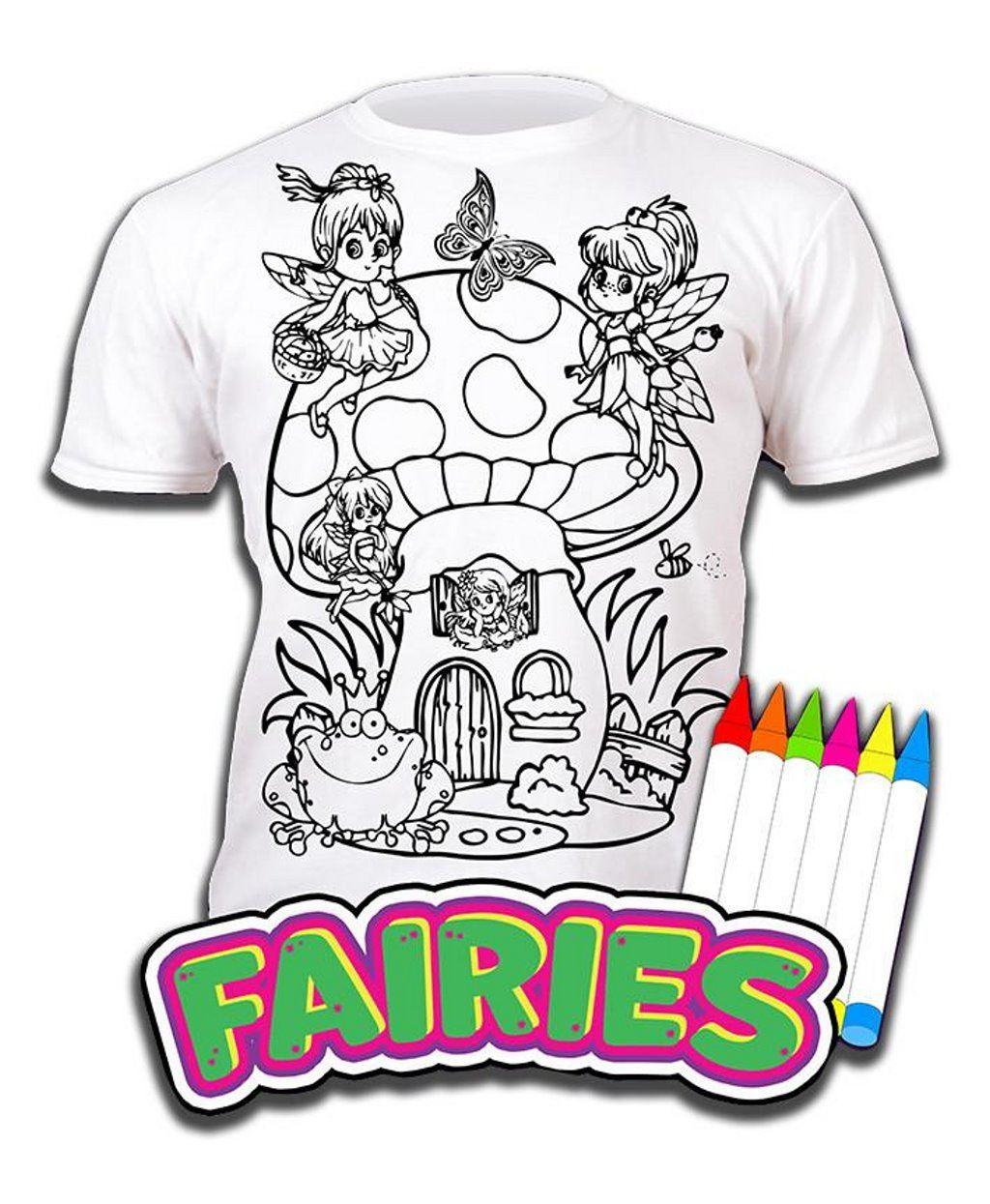 Colour-your-own-t-shirt-unicorn-mermaid-dinosaur-novelty-gift thumbnail 6