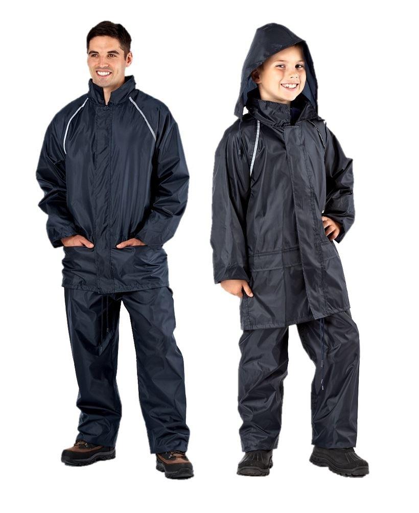 navy waterproof suits men boys jacket trousers rain suit