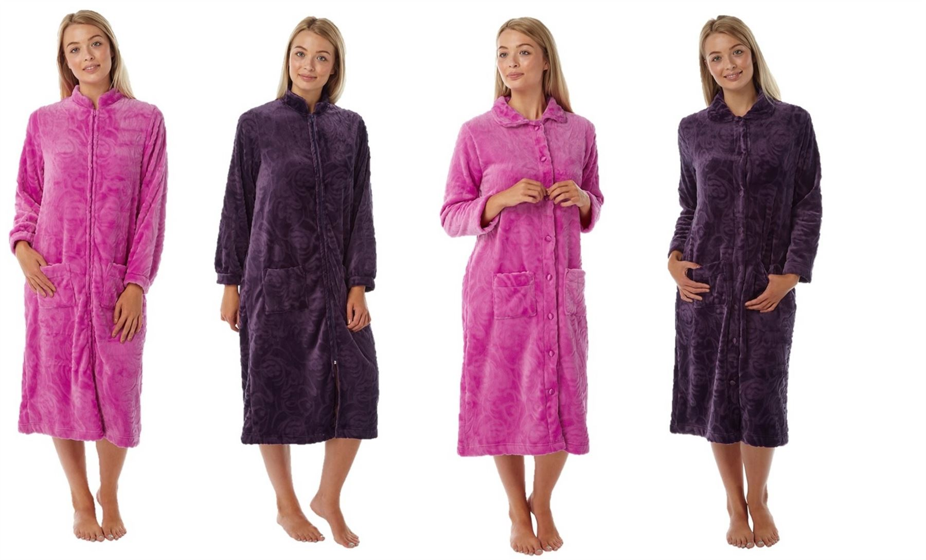 Ladies Womens Dressing Gown Zip Up Button Bath Soft Warm Robe House ...