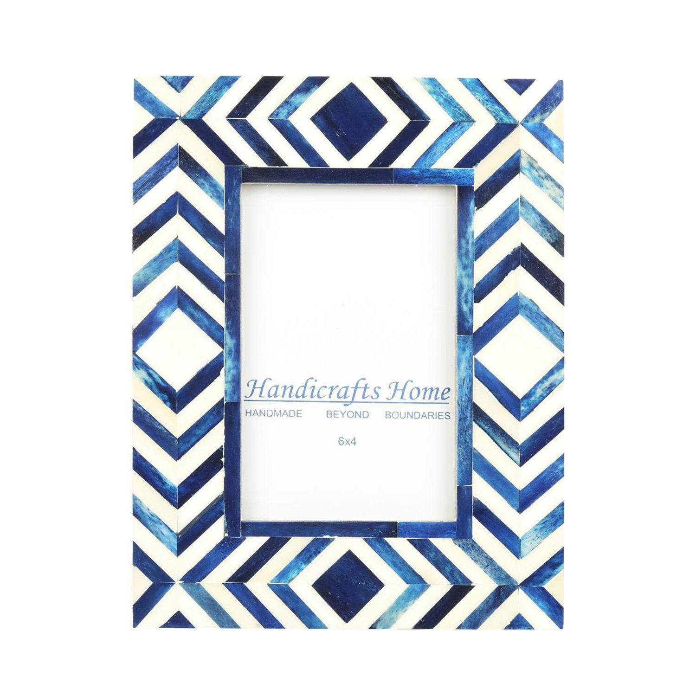 Handicrafts Home 4x6 Photo Frame Blue White Bone Mosaic Moroccan ...