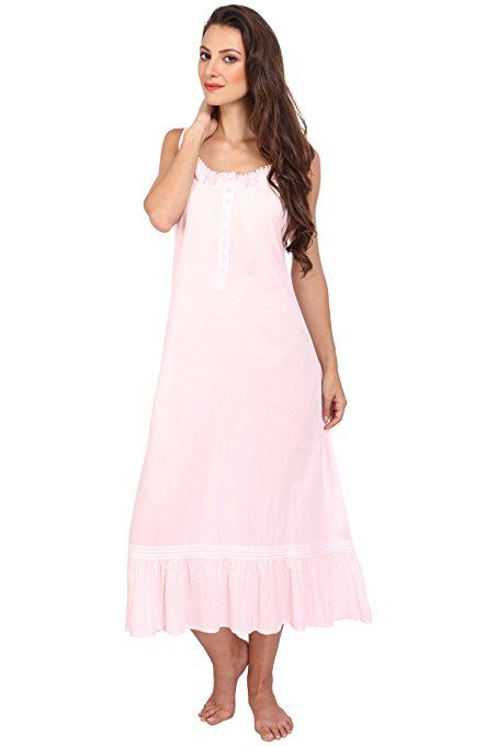 Haut-femme-sans-manches-style-victorien-Chemise-De-Nuit-Longue-Pyjamas-Coton-Chemise-de-nuit
