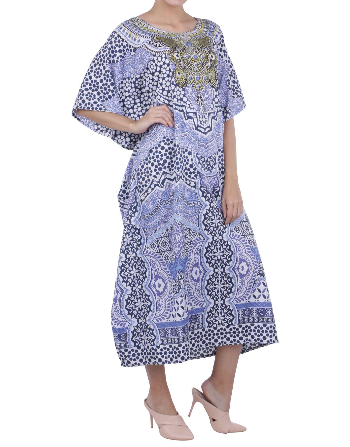 Kaftan Tunic Plus Size Beach Cover Up Maxi Dress Sleepwear Kimonos K131 UK