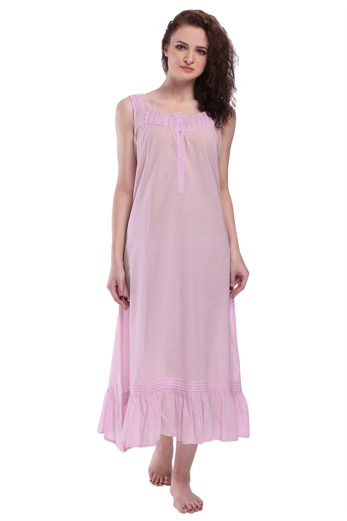Womens-Sleeveless-Victorian-Style-Nightgown-Long-Sleepwear-Cotton-Nightdress