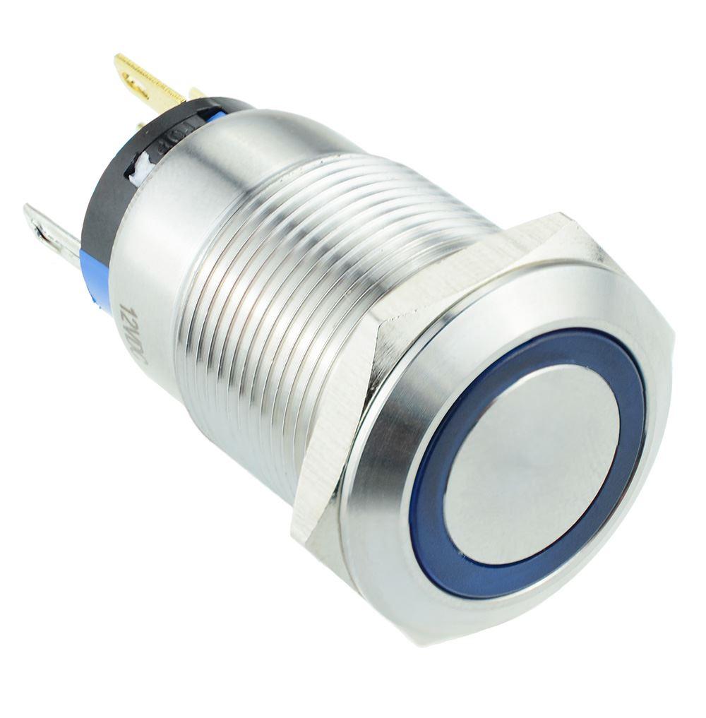 blaue LED beleuchtet Angel Eye 19mm federnder Schalter 12V SPST | eBay