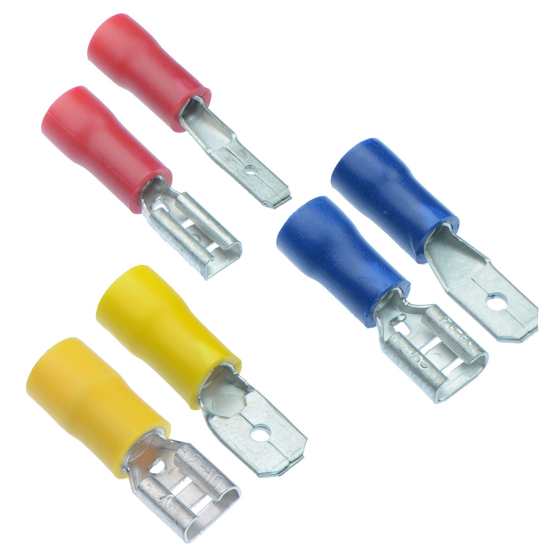 Blue 50x Male+50x Female Spade Blade Connectors Insulated Wire Crimp Terminals E