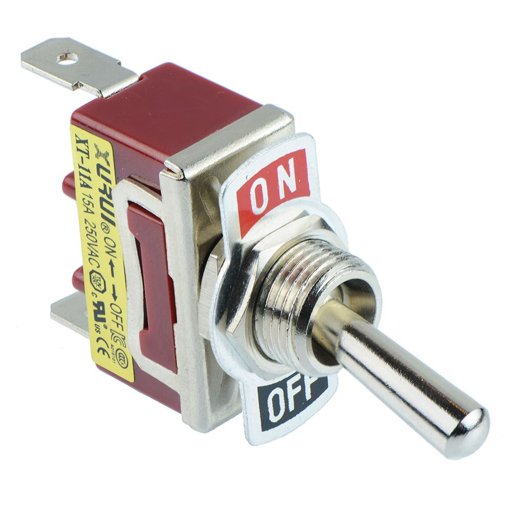 Single or Double Pole Toggle Flick Switch 15A 250VAC - SPST SPDT ...