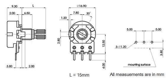 1k linear lin 16mm splined potentiometer pot
