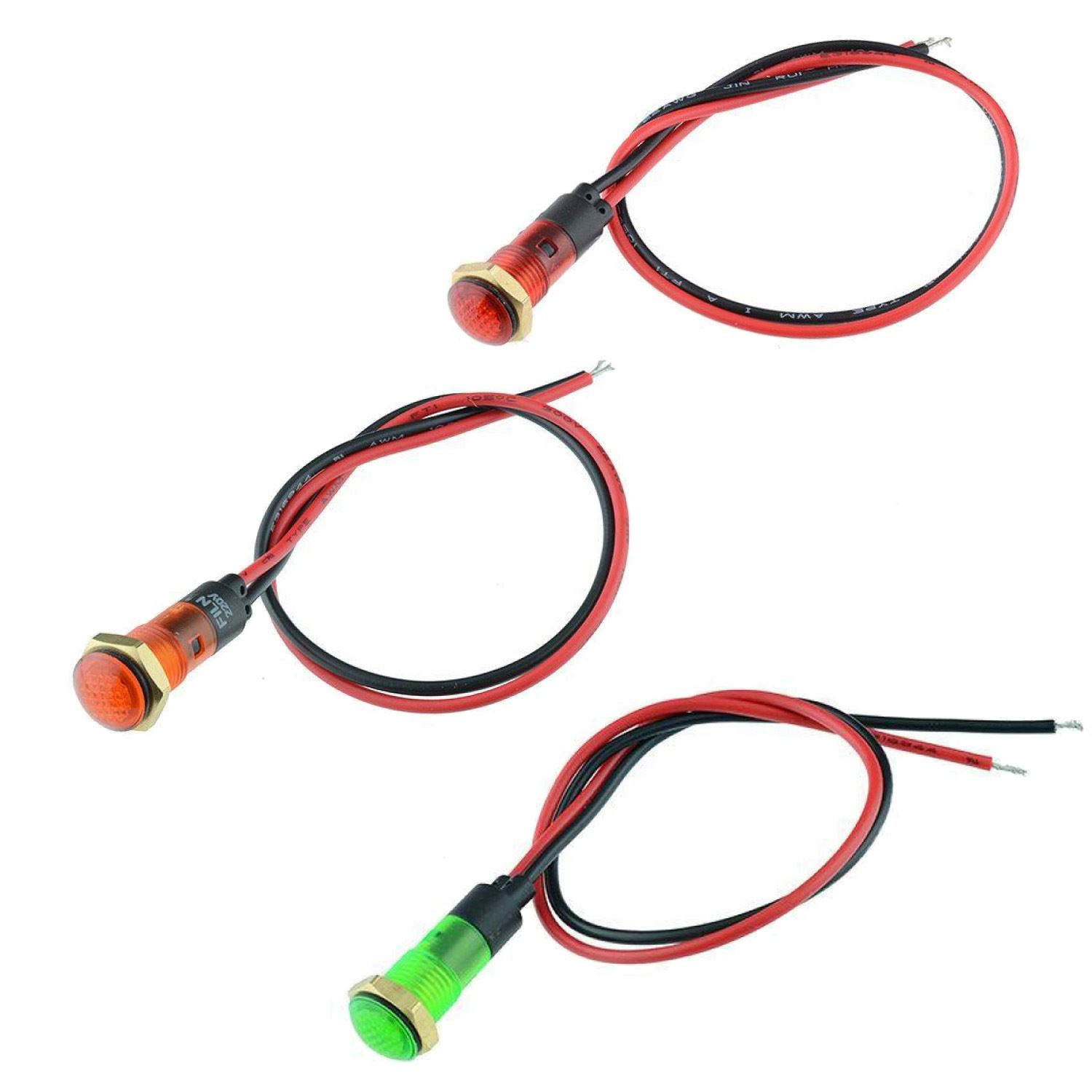 5 x Yellow LED Prewired 8mm Panel Indicator 220V