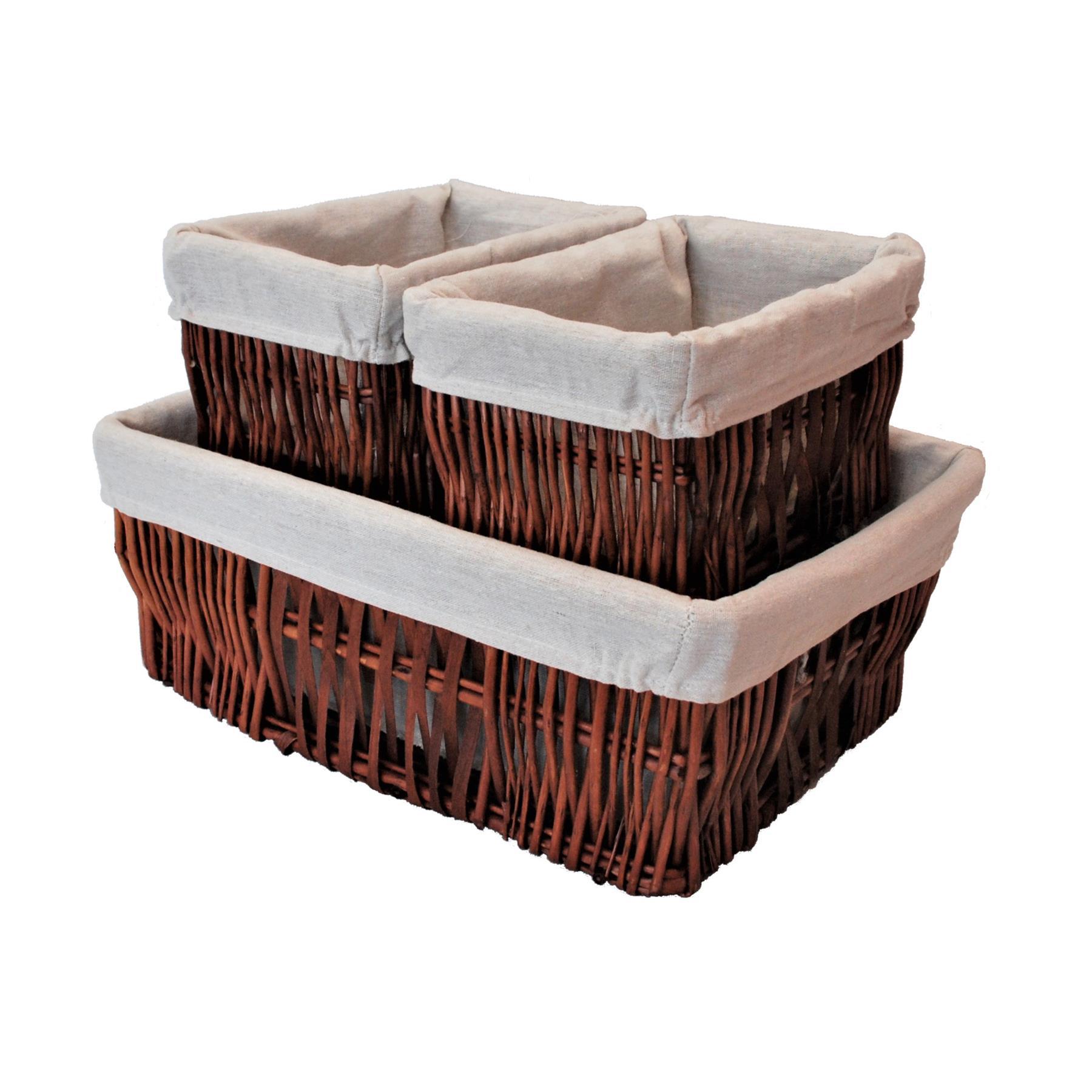 3 Piece Natural Woven Wicker Storage Basket Set 5059331124584 Ebay
