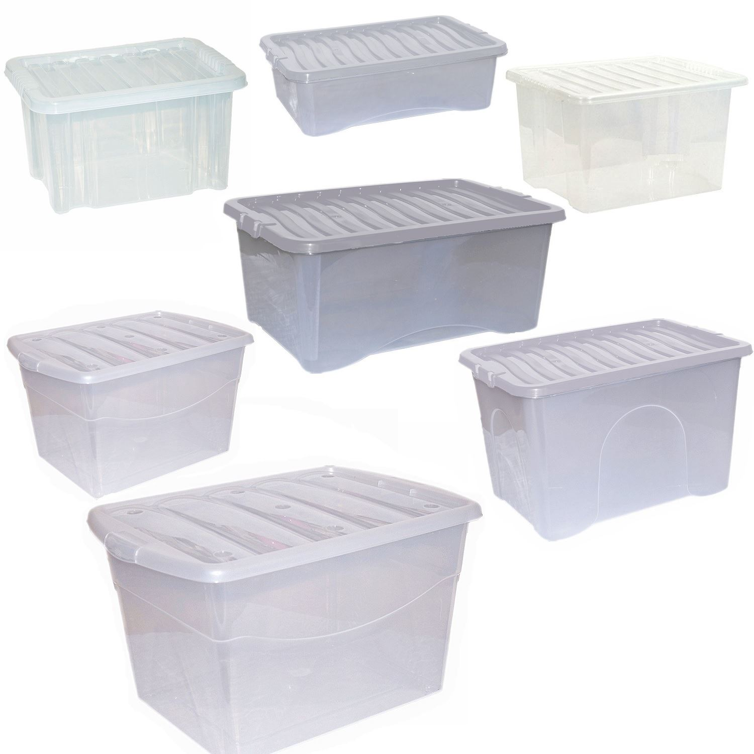 CrazyGadget Large Plastic Storage Clear Box with Clear Lid