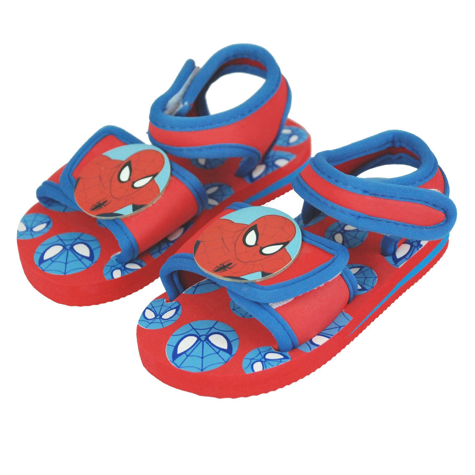 Marvel Spiderman Boys Velcro Walking Sandals Indoor Outdoor Beach