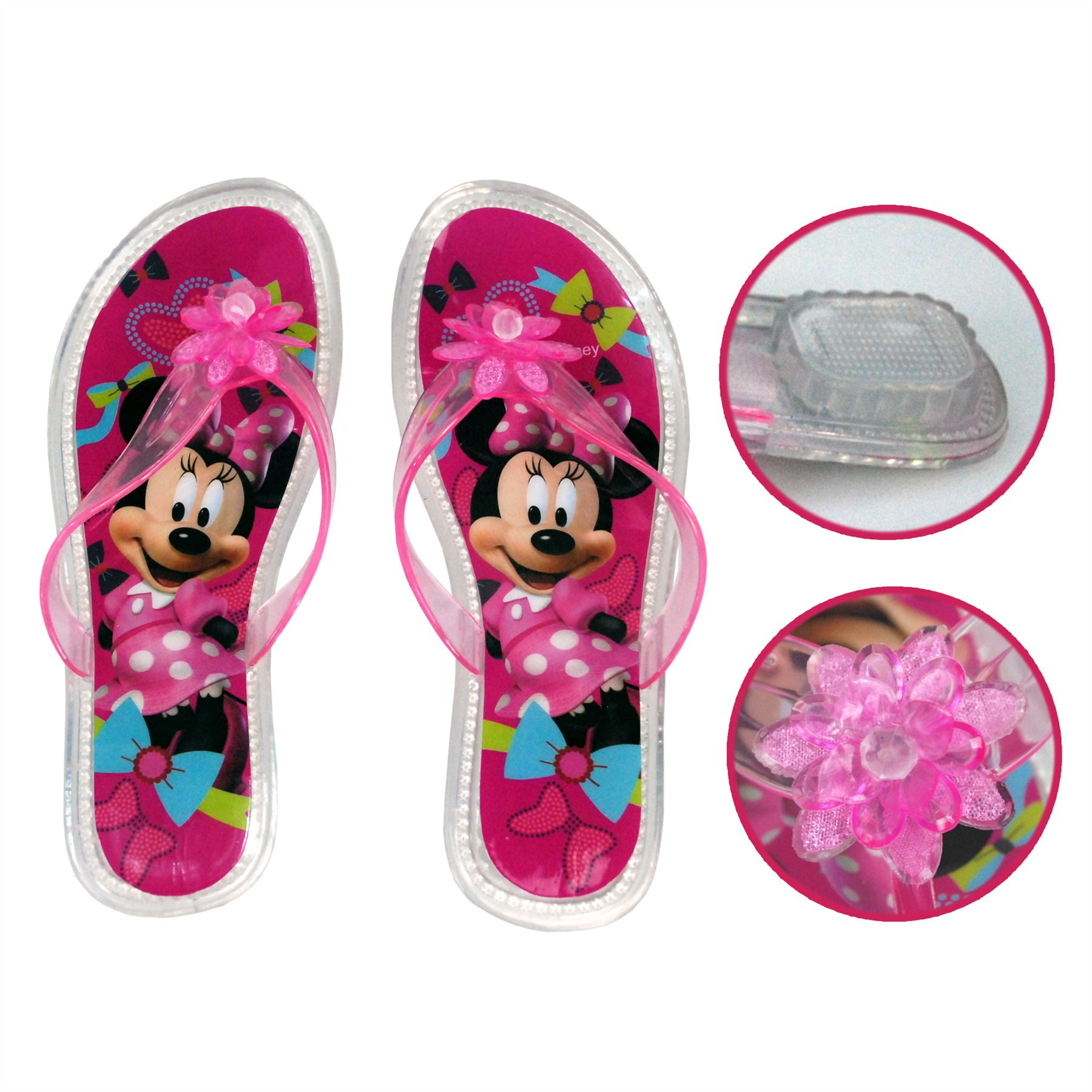 78cfa0a45dad55 Disney® Minnie Mouse Girls Flip Flop Jelly Sandal Heel UK Sizes 5 ...