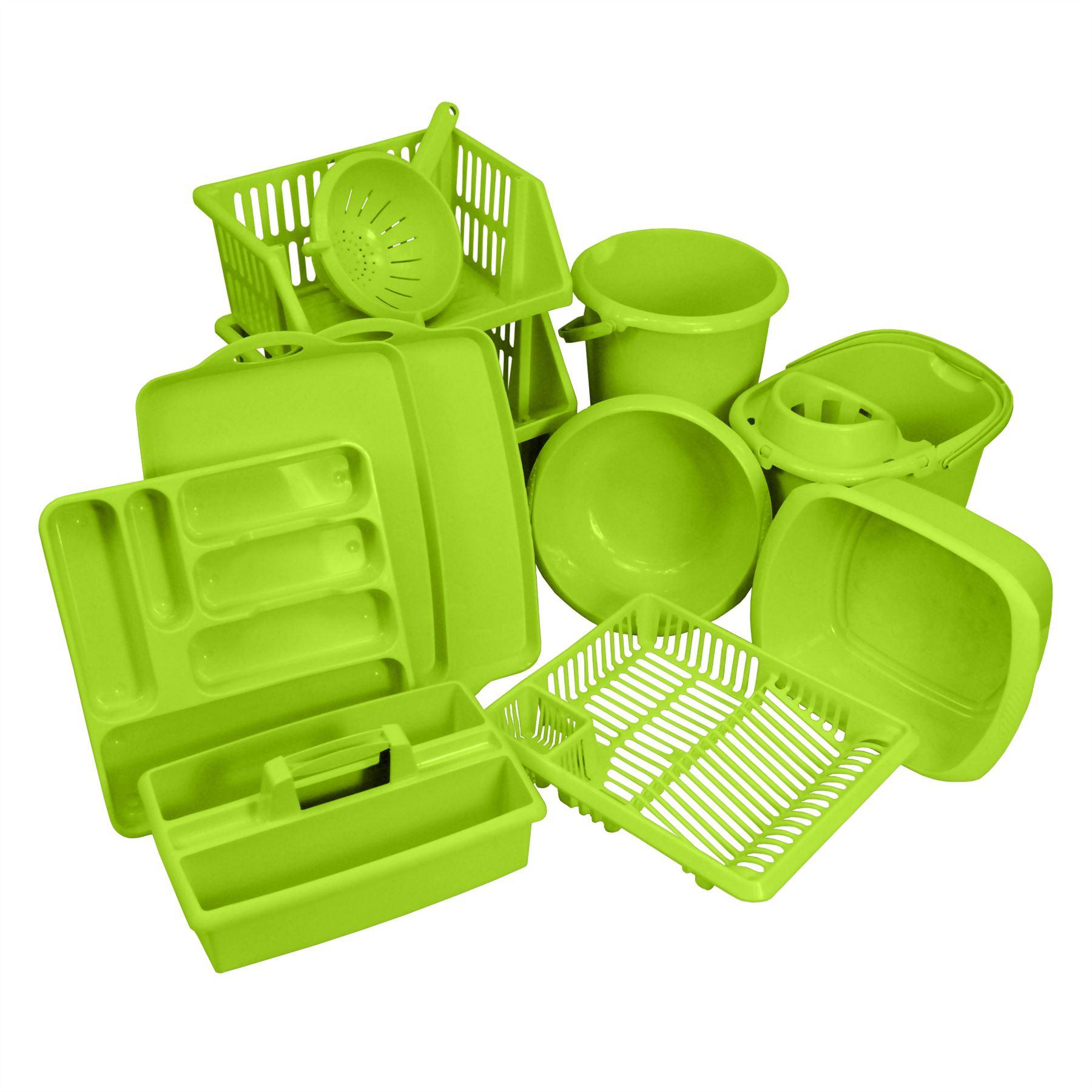 Crazygadget 11pc kitchen plastic accessories set bowls for Plastic kitchen set