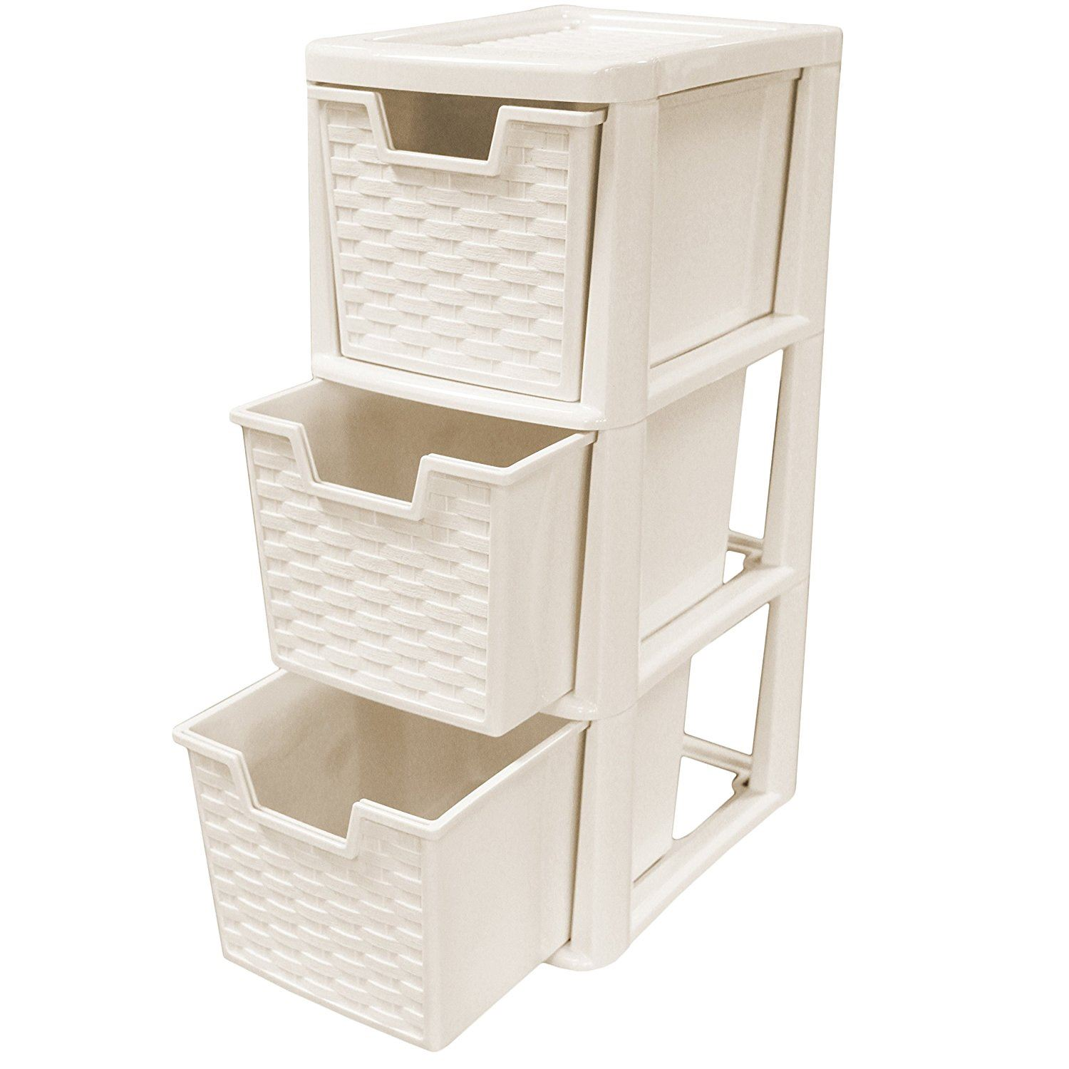 Rattan Style Plastic Small 3 Drawer Tower Storage Unit for School ...