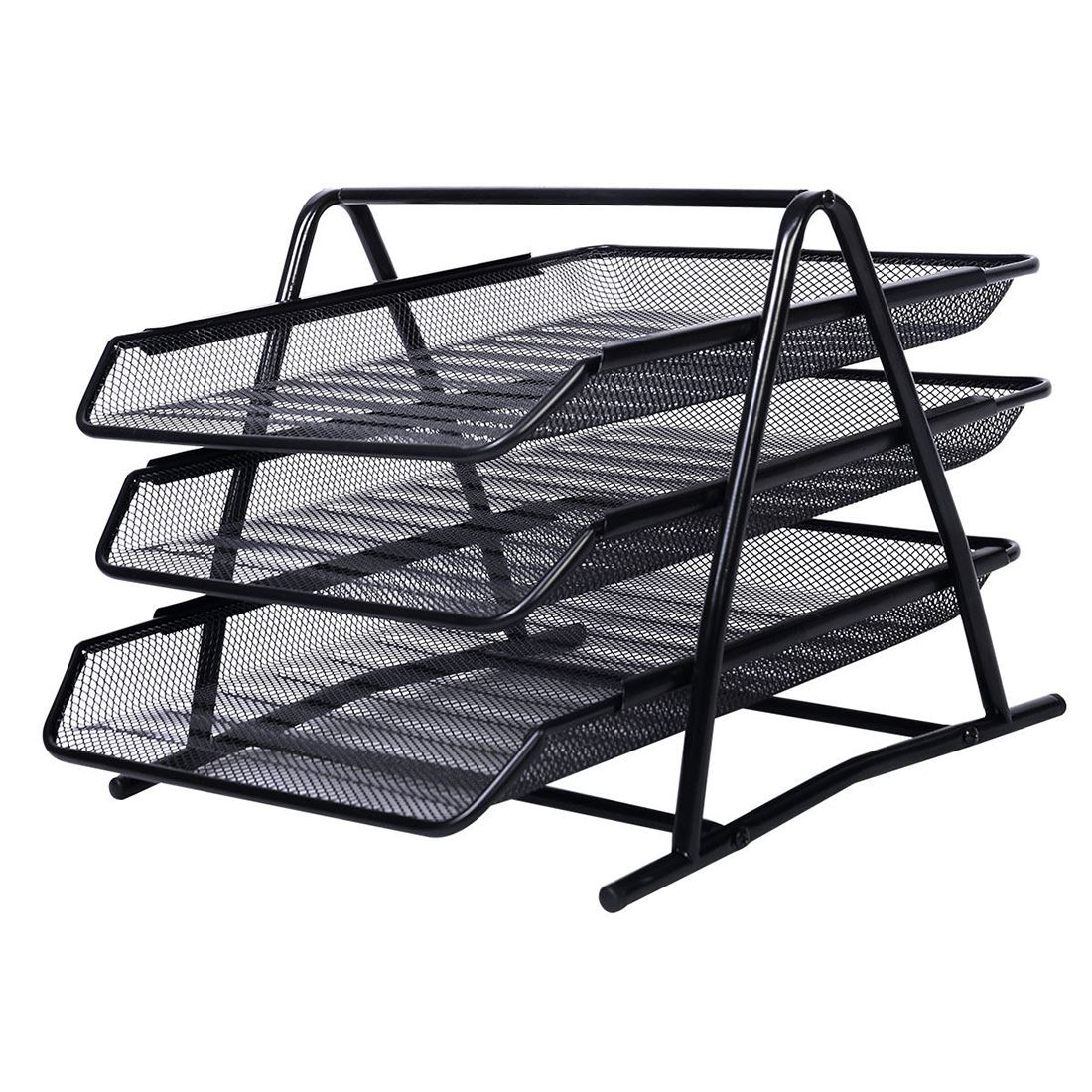 Design Ideas Mesh Letter Tray: A4 Wire Mesh Filing Tray Black Silver 3-4 Tier Document
