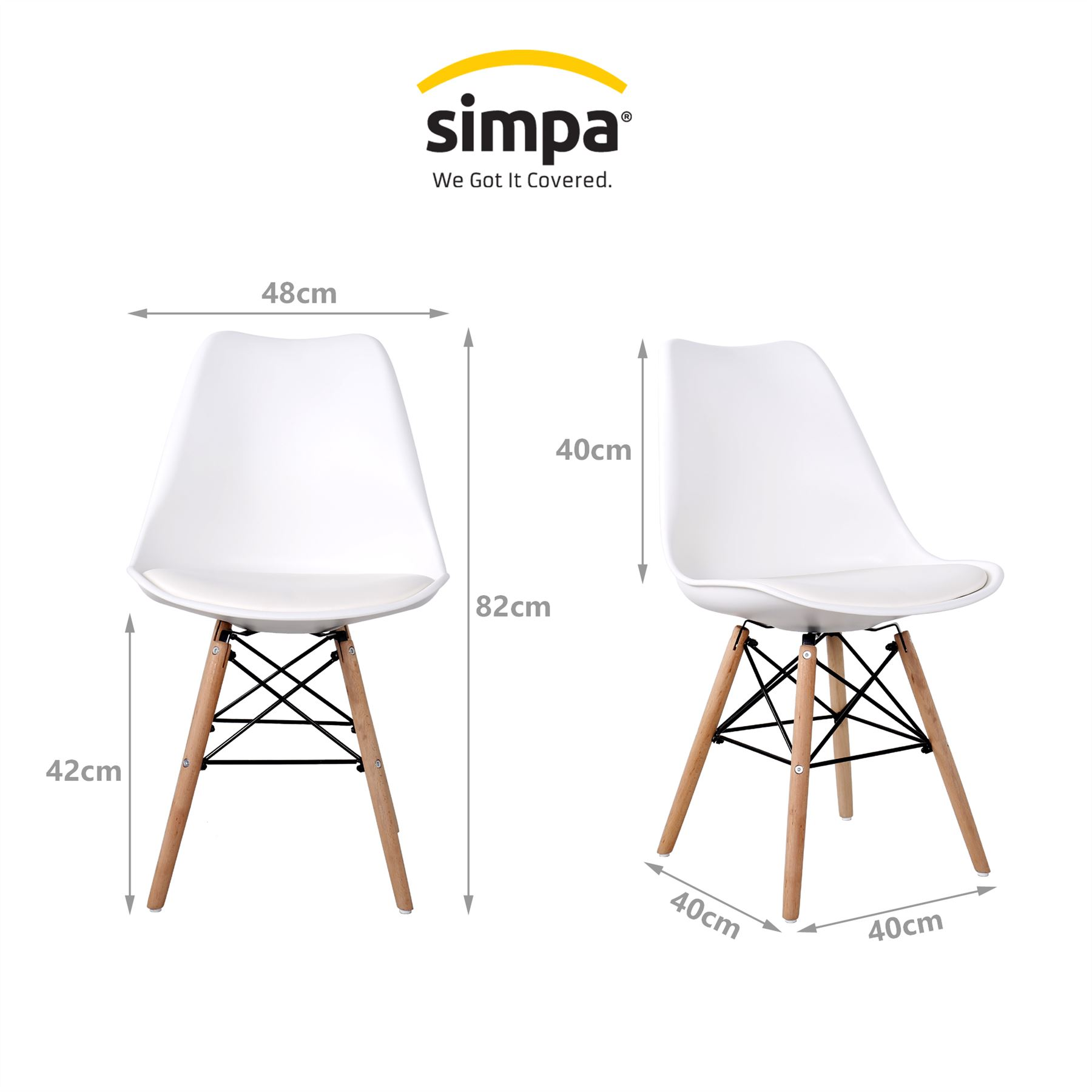 Simpa Eiffel Inspired White Tulip Contemporary Designer Dining
