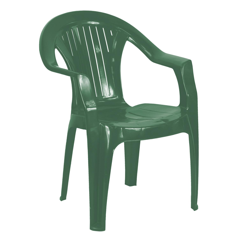 Simpa Vertical Slat Back Plastic Garden Chairs - in Green ...