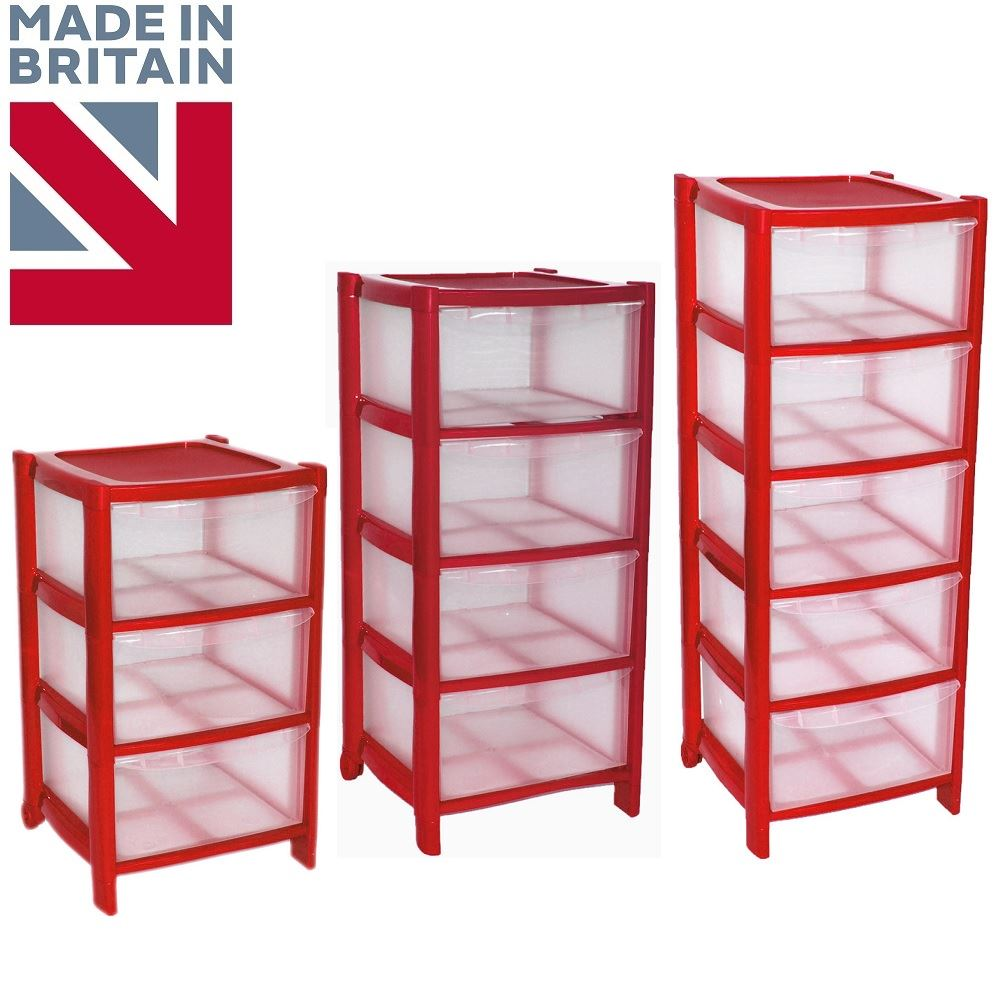 RED Drawer Plastic Tower Storage Drawers Chest Unit with Wheels MADE IN U.K  sc 1 st  eBay & RED Drawer Plastic Tower Storage Drawers Chest Unit with Wheels MADE ...